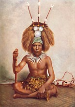 A Samoan chief in full ceremonial costume, 1902. Artist: Thomas Andrew.
