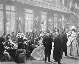 'La Sortie Des Theatres - L'Heure Du Chocolat', 1900. Artist: Unknown.