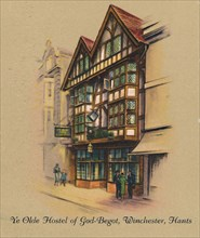 'Ye Olde Hostel of God-Begot, Winchester, Hants', 1939. Artist: Unknown.