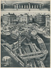 'A New Piccadilly Circus Below The Old As The Gateway to the Tubes', c1935. Artist: D Macpherson.