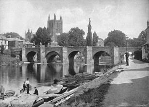 'Hereford Cathedral and Wye Bridge', c1896. Artist: J Thirwall.
