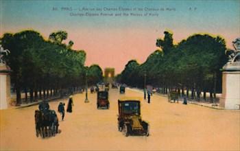 The Avenue des Champs-Elysées and the Marly Horses, Paris, c1920. Artist: Unknown.