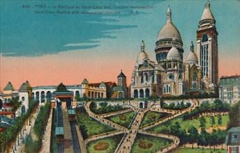The Sacré-Coeur Basilica with monumental staircase, Paris, c1920. Artist: Unknown.