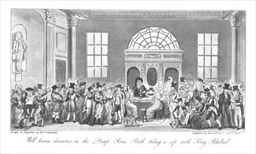 'Well known Characters in the Pump Room, Bath, taking a sip with King Bladud', 1825. Artist: Isaac Robert Cruikshank.