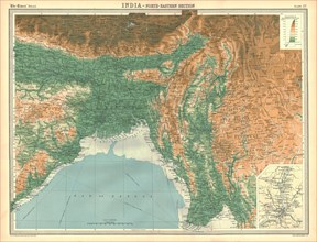 Geographical map of the north-eastern section of India, early 20th century. Artist: Unknown.