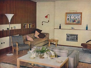 'The living-room in a London flat, redesigned by Serge Chermayeff, F.R.I.B.A.', 1936. Artist: Unknown.
