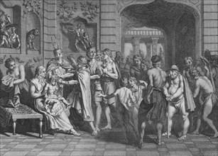 'On Coupe les Cheveux, et on donne un Nom aux Fils de L'Yncas', 1723. Creator: Bernard Picart.