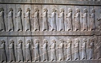 Relief of Immortals, the Apadana, Persepolis, Iran
