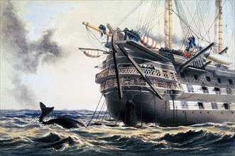 HMS 'Agamemnon' laying the original Atlantic telegraph cable, 1857 (1866). Artist: Robert Dudley