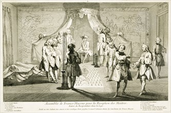 Assembly of Freemasons for the initiation of a Master, c1733. Artist: Unknown