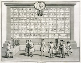 Freemasons, with signs for the various lodges, c1733. Artist: Unknown