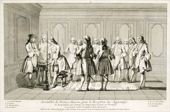 Assembly of Freemasons to initiate an apprentice, c1733. Artist: Unknown