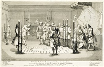 Assembly of Freemasons before the initiation of a master, c1733. Artist: Unknown