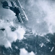 Aerial combat on the Western Front, World War I, 1914-1918. Artist: Unknown