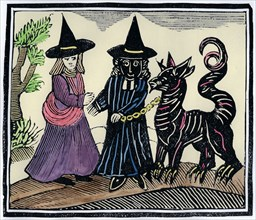 A black and a white witch with a devil animal. Artist: Unknown