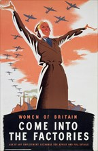 'Women of Britain Come into the Factories', c1940. Artist: Unknown