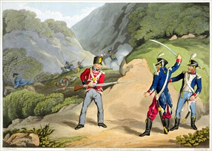 'A British soldier Taking Two French Officers at the Battle of the Pyrenees', 1813 (1816). Artist: Matthew Dubourg