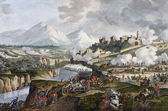 The Battle of Rovereto, Italy, 18 Fructidor, Year 4 (September 1796)  Artist: Jean Duplessis-Bertaux