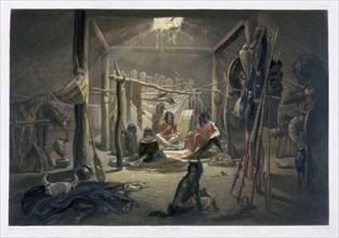 'The Interior of the Hut of a Mandan Chief', 1843. Artist: Narcisse Desmadryl