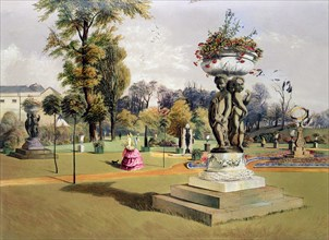 The Terrace Garden, Woburn Abbey, Berkshire, mid 19th century. Artist: E Adveno Brooke