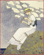 Design for a country dress by Maison Paquin, 1913. Artist: Georges Barbier