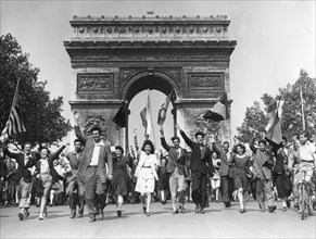 Victory in Europe Day, Avenue des Champs-Elysees, Paris, 8 May 1945. Artist: Unknown