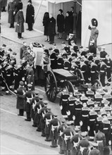 Sir Winston Churchill's coffin leaves Westminster Hall for St Paul's Cathedral, 30th January 1965. Artist: Unknown