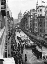 Sir Winston Churchill's funeral procession passing down Fleet Street, London, 30th January 1965. Artist: Unknown