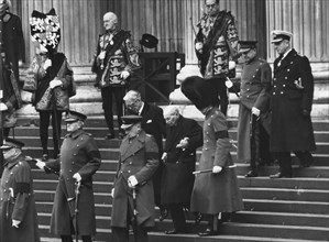 Sir Winston Churchill's funeral, steps of St Paul's Cathedral, London, 30th January 1965. Artist: Unknown