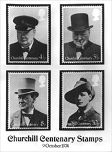 Stamps to commemorate the centenary of the birth of Sir Winston Churchill, 1974. Artist: Unknown