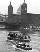 Sir Winston Churchill's coffin on the way to Festival Pier on a launch, London, 1965. Artist: Unknown