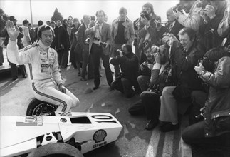 Mark Thatcher faces the press at Brands Hatch, Kent, 29th February 1980. Artist: Unknown