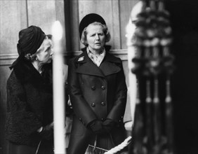Margaret Thatcher pays her last respects to Cardinal Heenan, London, 12th November 1975. Artist: Unknown