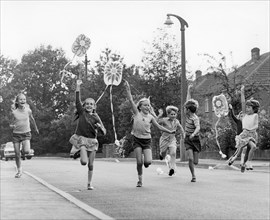 Children flying kites, Horley, Surrey, c1965-1975(?).