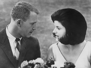Luci Baines Johnson with her fiance Patrick Nugent on the White House lawn, Washington, 1966. Artist: Unknown