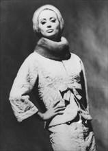 Maggy Rouff evening wear with mink ruff, c1950s(?). Artist: Unknown
