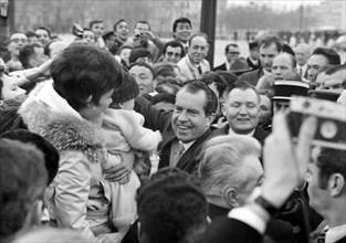 President Nixon meets the crowds on the Champs Elysees, Paris, c1969-1974. Artist: Unknown