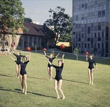 Idlaflickorna (The Ernst Idla Girls), famous Swedish rhythmic gymnastics group. Artist: Göran Algård