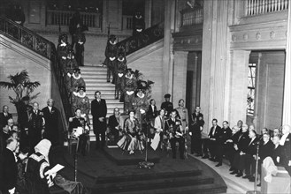Queen Elizabeth II attends an address of loyalty at the Northern Ireland Parliament, 1953. Artist: Unknown