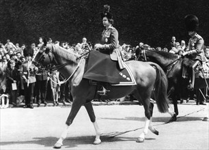 Queen Elizabeth II on horseback, Trooping of the Colour, Horse Guards Parade, London, 1962. Artist: Unknown