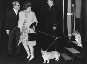 Queen Elizabeth II arrives with her corgis at Euston from Perth, Scotland, 1970. Artist: Unknown