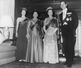 The Royal family attend the Royal Company of Archers' Tercentenary Ball in Edinburgh, 1976.  Creator: Unknown.