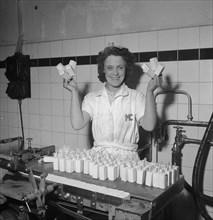 Making ice lollies during the heat wave, Stockholm, Sweden 24th July 1943. Artist: Karl Sandels
