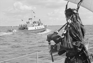 A bagpiper on board the ocean cruiser 'Avalanche' off Landskrona, Sweden, 1965. Artist: Unknown