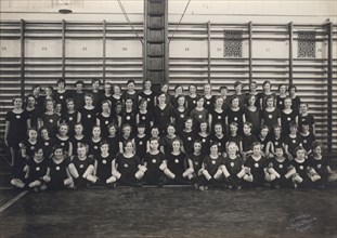 Physical education class at school, Sweden, 1927. Artist: Otto Ohm