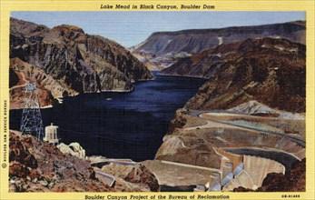 Boulder Dam and Lake Mead, Arizona/Nevada, USA, 1940. Artist: Unknown
