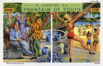 'St Augustine, Florida, Fountain of Youth', postcard, 1940. Artist: Unknown
