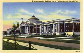 Administration Building, Naval Training Station, Norfolk, Virginia, USA, 1940. Artist: Unknown