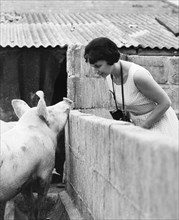 Woman and pig, 1960s.
