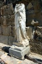 Headless statue, the gymnasium, Salamis, North Cyprus.